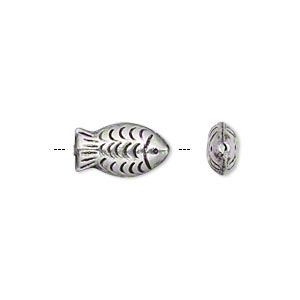 bead, hill tribes, antiqued silver-plated brass, 14x7mm double-sided textured fish. sold per pkg of 4.