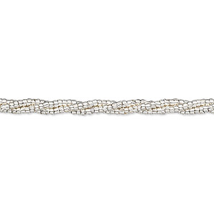 bead, hill tribes, fine silver, 1x1mm round tube with 0.8mm hole. sold per 8-inch strand, approximately 260 beads.