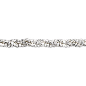 bead, hill tribes, fine silver, 2x1mm faceted rondelle with 0.7mm hole. sold per 16-inch strand, approximately 250 beads.