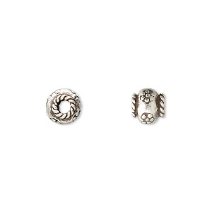 bead, hill tribes, fine silver, 7x6mm flower rondelle. sold per pkg of 6.