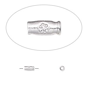 bead, hill tribes, silver-plated copper, 5x2mm round tube with flower design. sold per pkg of 50.