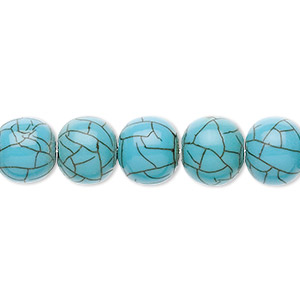 bead, horn (assembled / dyed), turquoise blue, 8-10mm round. sold per 16-inch strand.