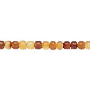 bead, horn (dyed / waxed), golden, 4-5mm hand-cut round. sold per pkg of (2) 16-inch strands.