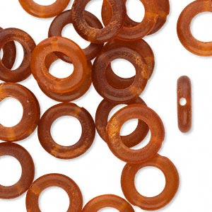 bead, horn (dyed), golden, 12mm hand-cut ring. sold per pkg of 25.