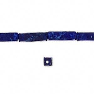 bead, howlite (dyed), lapis blue, 13x4mm square tube, b grade, mohs hardness 3 to 3-1/2. sold per 16-inch strand.