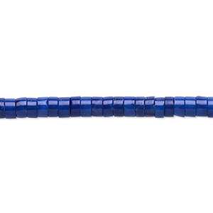 bead, howlite (dyed), lapis blue, 4x2mm heishi, b grade, mohs hardness 3 to 3-1/2. sold per 16-inch strand.