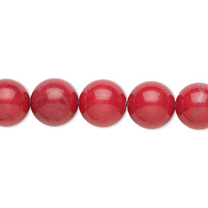bead, howlite (dyed), red, 10mm round, b grade, mohs hardness 3 to 3-1/2. sold per 16-inch strand.