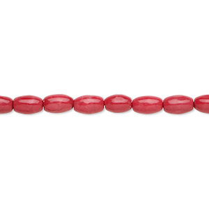 bead, howlite (dyed), red, 6x4mm oval, b grade, mohs hardness 3 to 3-1/2. sold per 16-inch strand.