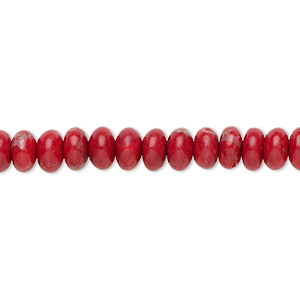 bead, howlite (dyed), red, 6x4mm rondelle, b grade, mohs hardness 3 to 3-1/2. sold per 16-inch strand.