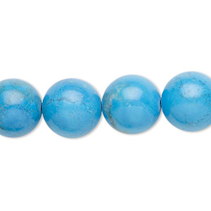 bead, howlite (dyed), turquoise blue, 12mm round, b grade, mohs hardness 3 to 3-1/2. sold per 16-inch strand.