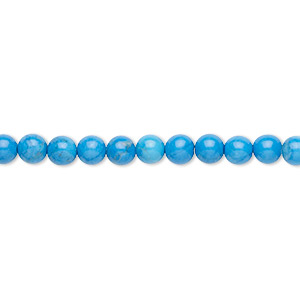 bead, howlite (dyed), turquoise blue, 4mm round, b grade, mohs hardness 3 to 3-1/2. sold per 16-inch strand.