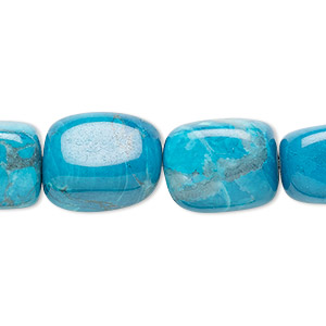 bead, howlite (dyed), turquoise blue, medium nugget, mohs hardness 3 to 3-1/2. sold per 16-inch strand.