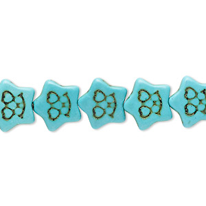 bead, howlite (imitation), aqua blue, 12x11mm carved flat star. sold per 15-inch strand.