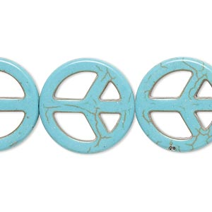 bead, howlite (imitation), aqua blue, 20mm peace sign. sold per 15-inch strand.