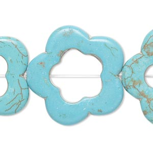bead, howlite (imitation), aqua blue, 28x28mm open flower with 14x14mm center hole. sold per 15-inch strand.