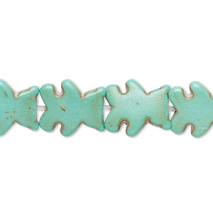 bead, howlite (imitation), aqua green, 14x12mm-15x13mm flat bear. sold per 15-inch strand.