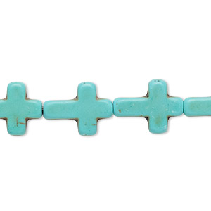 bead, howlite (imitation), aqua green, 15x11mm-16x12mm cross. sold per 15-inch strand.