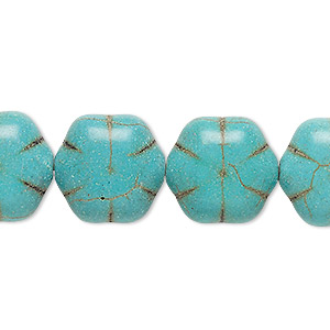bead, howlite (imitation), aqua green, 16x16mm-17x16mm puffed flower. sold per 15-inch strand.
