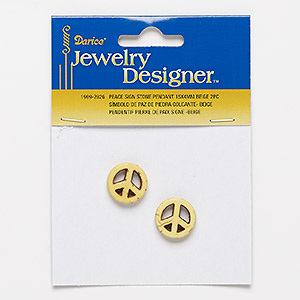 bead, howlite (imitation), beige, 15mm peace sign. sold per pkg of 2.