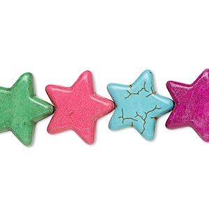 bead, howlite (imitation), multicolored, 14-15mm flat star. sold per 15-inch strand.