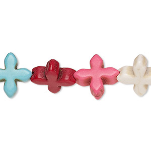 bead, howlite (imitation), multicolored, 14x14mm-15x15mm flat cross. sold per 15-inch strand.