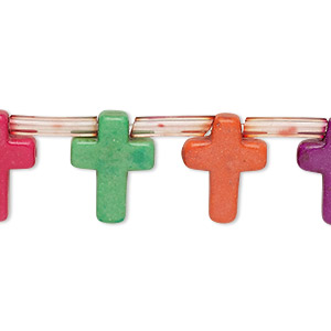 bead, howlite (imitation), multicolored, 15x12mm-16x12mm top-drilled cross. sold per pkg of 25 beads.