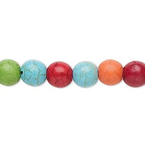 bead, howlite (imitation), multicolored, 8-9mm round. sold per 15-inch strand.