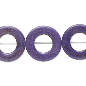 bead, howlite (imitation), purple, 20mm round donut, 10mm center hole. sold per 15-inch strand.