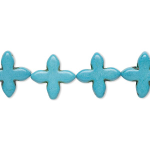 bead, howlite (imitation), turquoise blue, 14x14mm-15x15mm flat cross. sold per 15-inch strand.