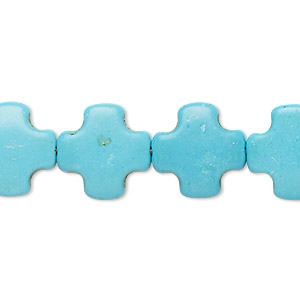 bead, howlite (imitation), turquoise blue, 14x14mm-15x15mm swiss cross. sold per 15-inch strand.
