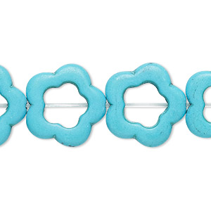 bead, howlite (imitation), turquoise blue, 19x18mm-20x19mm open flower, 10x8mm center hole. sold per 15-inch strand.