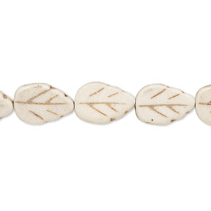 bead, howlite (imitation), white, 13x9mm carved flat leaf. sold per 15-inch strand.
