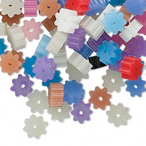 bead huggers™ mix, plastic, mixed colors, 3x1.5mm ribbed rondelle with 0.35mm hole. sold per pkg of 100.