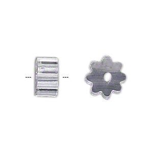 bead huggers™, plastic, clear, 3x1.7mm ribbed rondelle with 0.35mm hole. sold per pkg of 100.