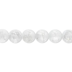 bead, ice flake quartz (heated), 8mm frosted round, b grade, mohs hardness 7. sold per 16-inch strand.