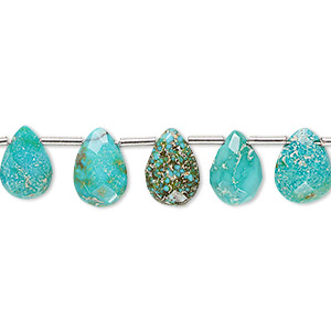 bead, imperial crown turquoise (natural), 9x6mm-10x8mm hand-cut top-drilled faceted puffed teardrop, c+ grade, mohs hardness 5 to 6. sold per pkg of 21 beads.