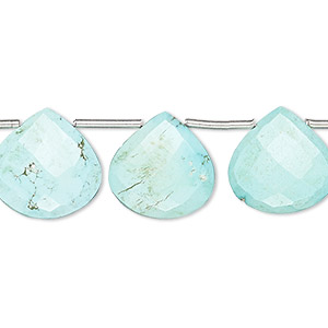 bead, imperial crown turquoise (natural), light, 13x13mm-15x15mm hand-cut top-drilled faceted puffed teardrop, b grade, mohs hardness 5 to 6. sold per pkg of 13 beads.