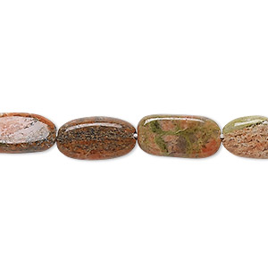 bead, indian unakite (natural), 10x7mm-16x9mm hand-cut flat oval, b- grade, mohs hardness 6 to 7. sold per 13-inch strand.
