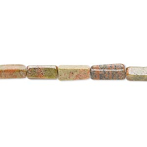 bead, indian unakite (natural), 6x3mm-11x5mm hand-cut square tube, c grade, mohs hardness 6 to 7. sold per 13-inch strand.