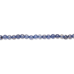 bead, iolite (dyed), 3mm hand-cut round, c grade, mohs hardness 7 to 7-1/2. sold per 16-inch strand.