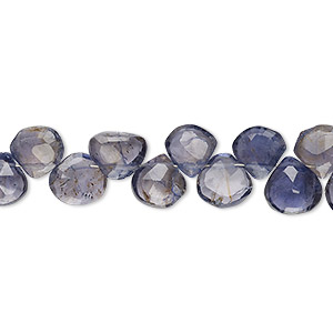 bead, iolite (dyed), 6mm-8mm hand-cut top-drilled faceted puffed teardrop, c grade, mohs hardness 7 to 7-1/2. sold per 4-inch strand.