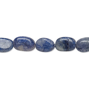 bead, iolite (dyed), 9x7mm-14x8mm hand-cut flat oval, f grade, mohs hardness 7 to 7-1/2. sold per 13-inch strand.