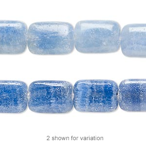 bead, italian onyx (dyed), blue, 14x10mm flat rectangle, b grade, mohs hardness 3. sold per 16-inch strand.