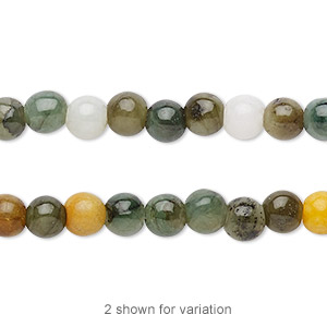 bead, jadeite (natural / dyed), multicolored, 6mm round with 0.5-1.5mm hole, c grade, mohs hardness 6-1/2 to 7. sold per 16-inch strand.