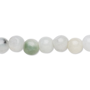 bead, jadeite (natural), white, 8mm round with 0.5-1.5mm hole, c grade, mohs hardness 6-1/2 to 7. sold per 16-inch strand.