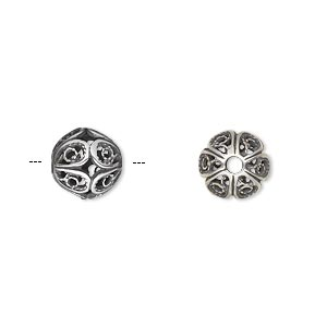 bead, jbb findings, antique silver-plated brass, 9mm filigree round. sold individually.
