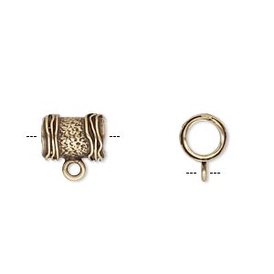 bead, jbb findings, antiqued brass, 10x7.5mm textured round tube with ribbed ends and loop, 5mm hole. sold per pkg of 2.