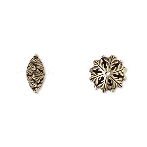 bead, jbb findings, antiqued brass, 11.5x5mm snowflake rondelle. sold per pkg of 2.