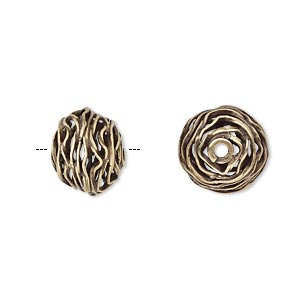 bead, jbb findings, antiqued brass, 12x10mm-13x11mm wire rondelle. sold individually.
