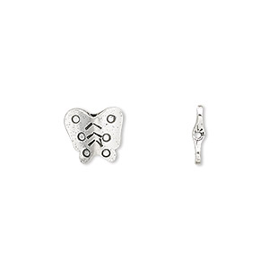 bead, jbb findings, sterling silver, 10x9x2mm double-sided flat butterfly tube. sold per pkg of 2.